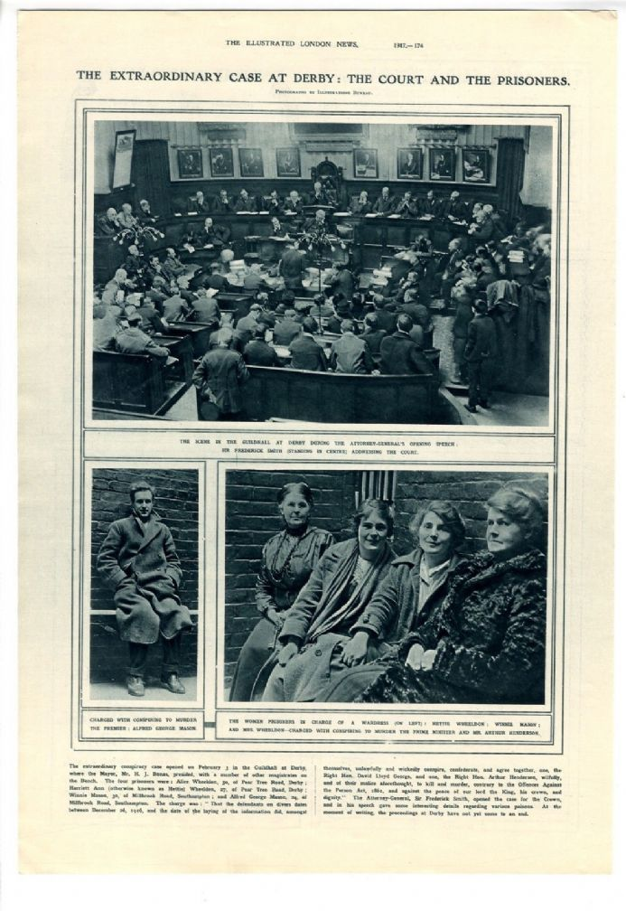 1917 ALICE WHEELDON Conspiracy Case SIR FREDERICK SMITH Trial Derby ALFRED MASON